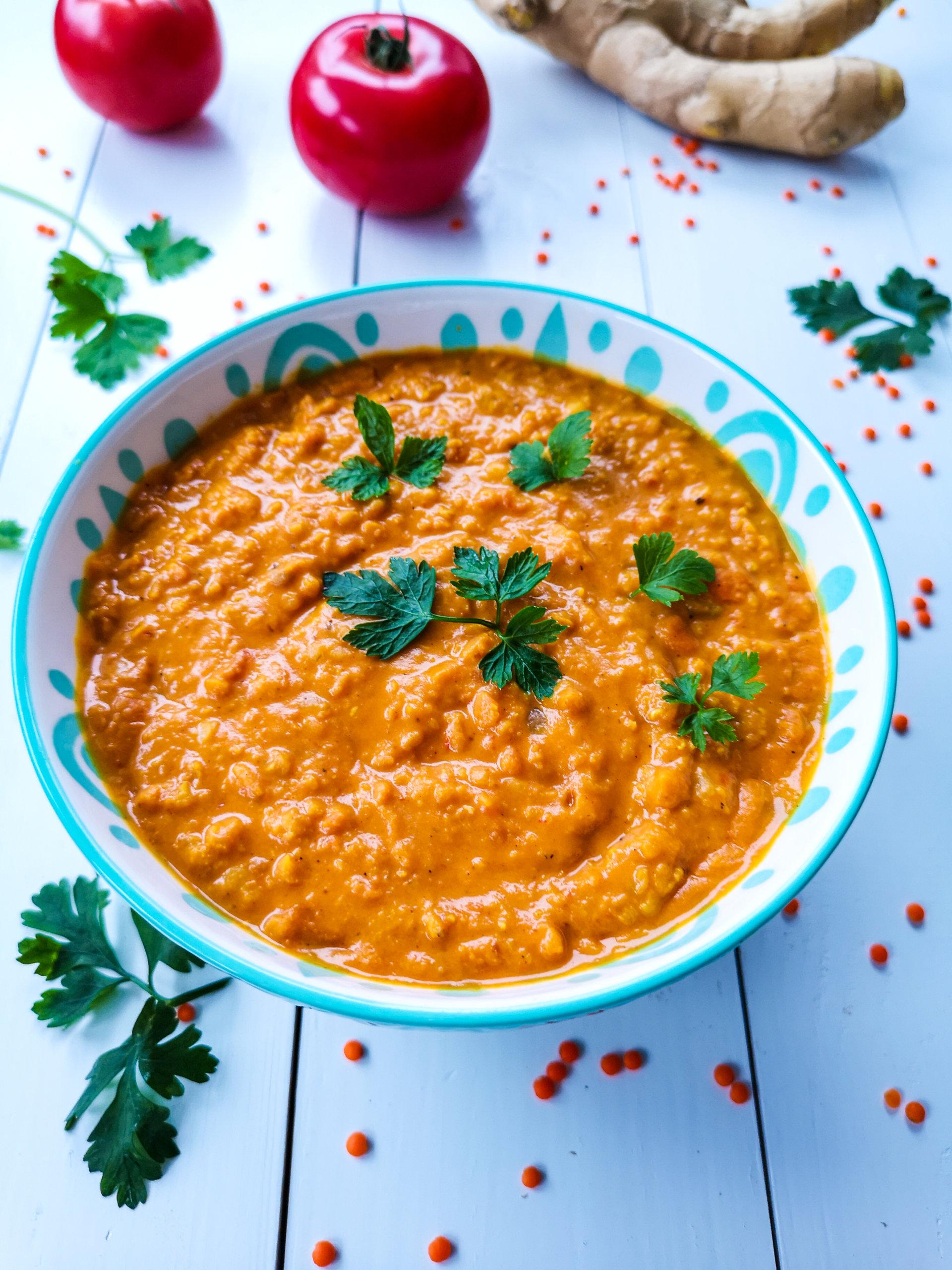 Zupa curry zczerwoną soczewicą